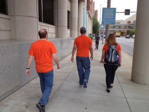 Alan and our friends, all in orange Stonemaier t-shirts.