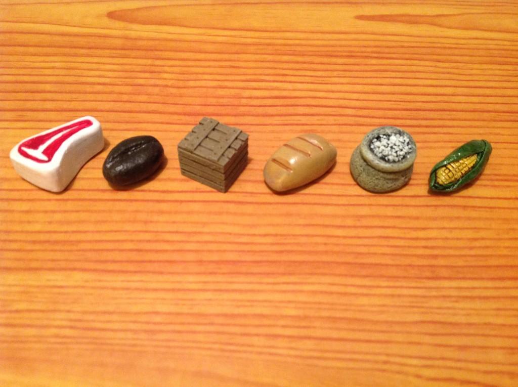 Food Crate: coffee, meat, bread, corn, grain/wheat, crate